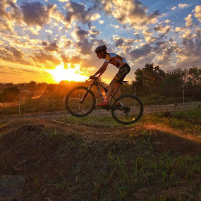 by Nora Richards - Instagram & Mobile Android ( mountain biking, sunset, cycling )