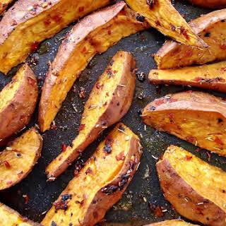 Roasted Sweet Potato Wedges with Black Garlic, Chilli & Rosemary GF.