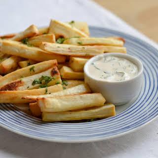 Baked Yuca Fries with Creamy Cilantro Dip.