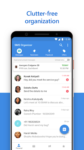 SMS Organizer - Clean, Reminders, Offers & Backup 1.1.139 screenshots 1