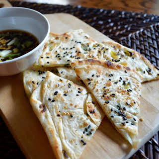 SCALLION PANCAKES WITH GARLIC SOY DIPPING SAUCE.