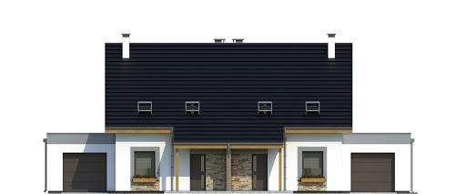 Azalia z garażem 1-st. bliźniak A-BL2 - Elewacja przednia