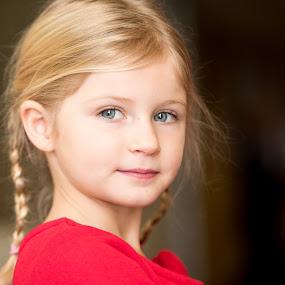 Christmas Wonder by Nancy Arehart - Babies & Children Children Candids ( girls, blonde, braids, blue eyes )