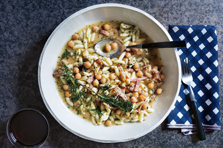 Bacon, Chickpea and Rosemary Cavatelli in Broth Recipe
