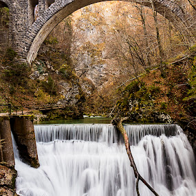 Waterfall under the bridge by Boris Podlipnik - Landscapes Waterscapes ( autumn, gorge, waterfall, river,  )