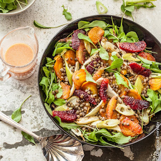 Roast Beetroot Salad with Lentils, Fennel and Blood Orange