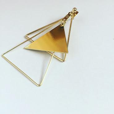 Handmade三角形單邊耳環