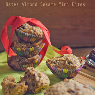 Wholewheat Date Almond Sesame Mini Bites and Loaf