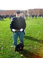Photo: As usual we formed up at the elementary school, where, once again, this fellow from the 11th PA and his dog were present. The dog is meant to represent Sallie, the mascot of the 11th PA.  See http://www.brotherswar.com/Gettysburg-1r.htm