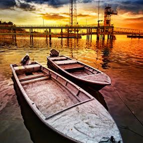 Need a boat? by William Cho - Transportation Boats ( lim chu kang, ©williamcho2012, fishing boats, shoreline, topazlab adjust, seascape, jetty, singapore )