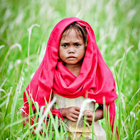 young lady with red veil by Faizal Ortho - People Portraits of Women ( red, ypung lady, kids, veil, women, lady )