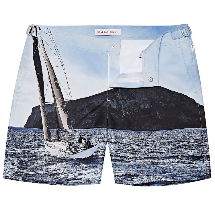 Shorts with a photographic print of a Solaris 55 yacht.