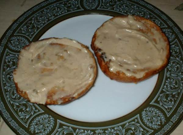 Honey Walnut Cream Cheese On A Cinnamon Crunch Bagel.  Yum!