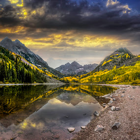 Maroon Bells, Colorado  by Chad Weisser - Travel Locations Landmarks ( pwclandmarks, snowmass, fall colors, maroon bell, rocky mountains, lake, aspen, maroon peak, mountains, weisser photography, sunset, sunrise, maroon bells, elk mountains,  )
