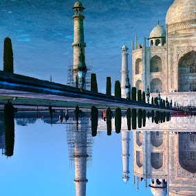 Taj reflections by Rulie Arifin - Buildings & Architecture Public & Historical ( history, love, mirrored reflections, mirror, tower, reflection, minaret, morning glory, taj mahal, reflections, india, travel photography, travel locations,  )