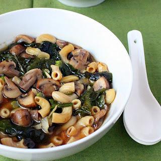Cremini Mushroom, Rainbow chard, shallot soup. Vegan