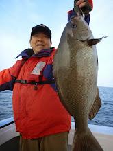 """Photo: """"カワサキさん""""もBIGサイズのオナガキャッチ! 3kgは間違いなくありますね!"""