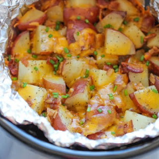 Slow Cooker Cheesy Bacon Ranch Potatoes.