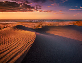 Photo: Dawn At The Sea Isle Of Langeoog, North Sea, Germany  Sand dunes formed by the strong winds at the beach. The light of the very low positioned sun created beautiful patterns and structures in the sand.  #plusphotoextract #seascapephotography #waterscapeartwednesday