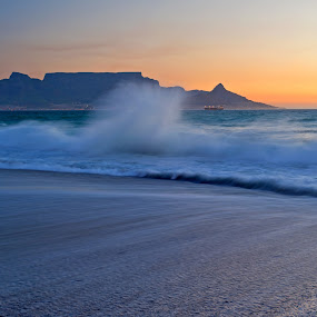 by Johan Mocke - Landscapes Beaches ( tranquil, table mountain, relax, sunset, south africa, tranquility, beach, relaxing, cape town )