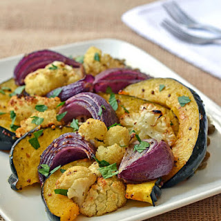 Oven Roasted Vegetables with Mustard and Warm Lentils