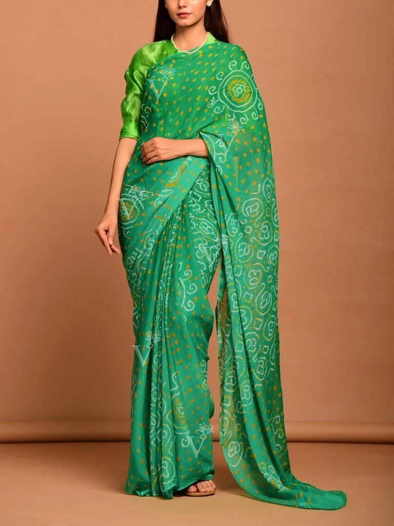 Vasansi Green Ombre Georgette Bandhani Saree