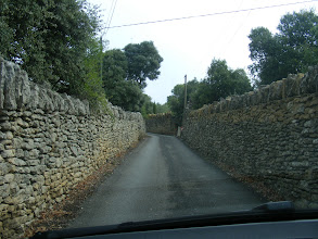 Photo: It's hard to remember how we made such trips without our trusty GPS (Madame La Carte), but she does often lead us into the most interesting situations, as here on our way to Gordes. We're hoping that this is a one-way road, but in rural France, one can never be sure!