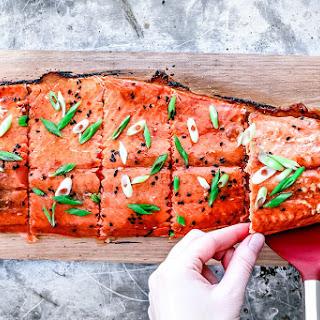 Cedar Plank Salmon With Lime and Sriracha Glaze.