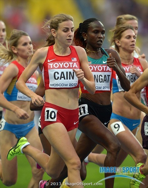 Mary Cain runs in the final of the 1,500 meters at the World Championships in Moscow