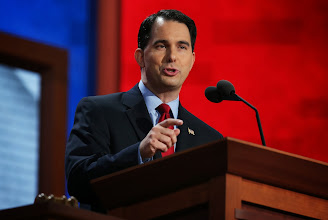 Photo: TAMPA, FL - AUGUST 28:  Wisconsin Gov. Scott Walker speaks during the Republican National Convention at the Tampa Bay Times Forum on August 28, 2012 in Tampa, Florida. Today is the first full session of the RNC after the start was delayed due to Tropical Storm Isaac.  (Photo by Chip Somodevilla/Getty Images)