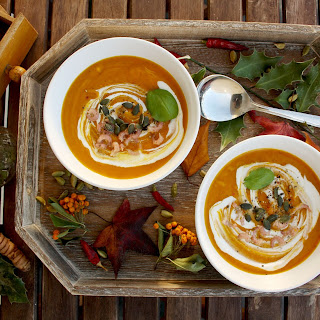 Spicy Pumpkin Soup with North Sea Shrimps.