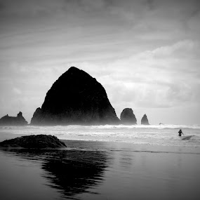 Cannon beach by Awesome Pics - Landscapes Mountains & Hills ( mono-tone, landmark, b&w, black and white, b and w, travel, landscape, monotone, silhouette,  )
