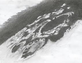 """Photo: Croquis """"rapide"""" (1H) du pôle sud lunaire. Le 21 mai 2010 de 20H à 21H TU. T406 à 350X en bino."""