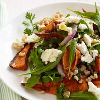 Roasted Sweet Potato Salad with Barley and Arugula.