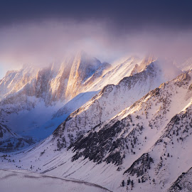 Winter Sunrise by Evver Gonzalez - Landscapes Mountains & Hills ( landscape photography, highway 395, mountains, american west, mammoth lakes, snowcapped, winter, california, eastern sierra, mountain range, telephoto landscape, landscape )