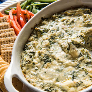 Healthier Hot Spinach and Artichoke Dip.