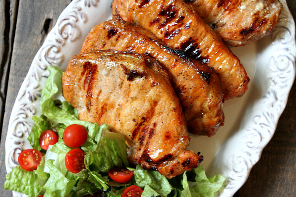 Apple and Blue Cheese Stuffed Grilled Pork Chops Recipe