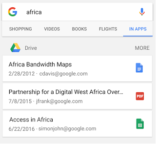 Screenshot of searching Drive files in the Google app on Android