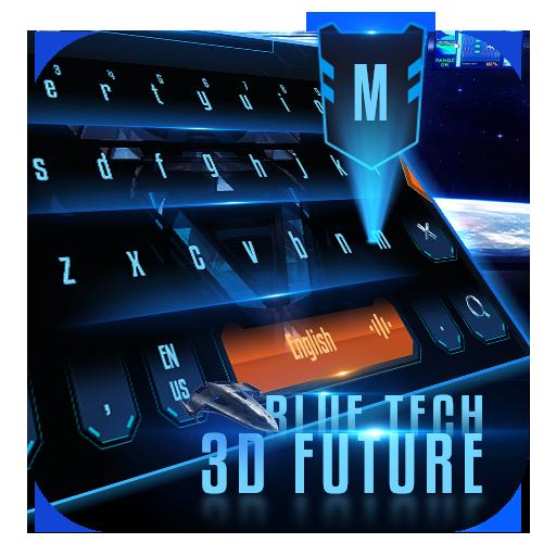 Blue tech 3D future keyboard