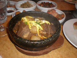 Photo: My Kalbi Jjim dish.  It was absolutely scrumptous - and, it was boiling when they presented it to me