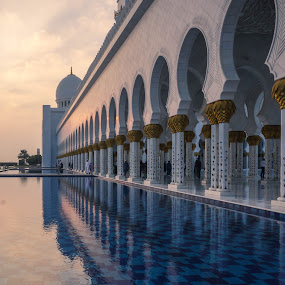 Sheikh Zayed mosque by Cristiana Chivarria - Buildings & Architecture Places of Worship ( water, reflection, building, sunset, mosque, uae, abu dhabi, architecture, photography, sheikh zayed mosque )
