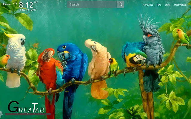 Parrot Wallpapers Parrot Theme |GreaTab