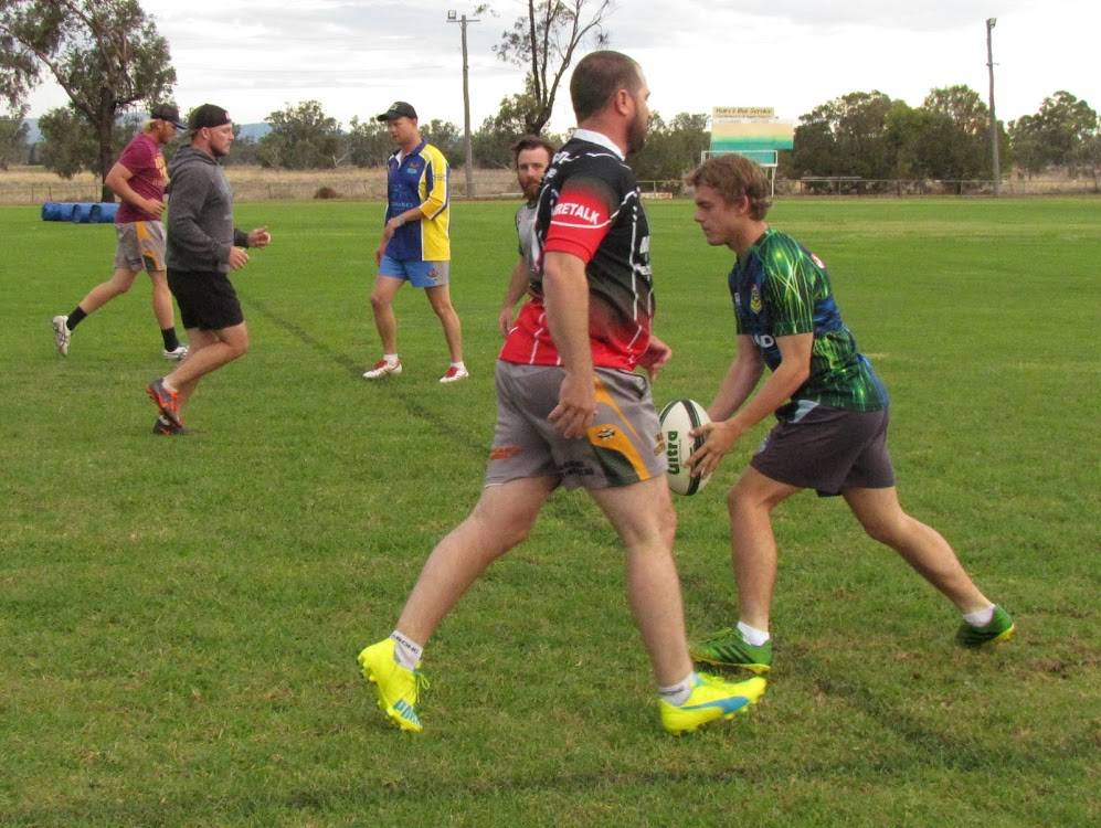 Mitchell Campbell, Robert Jones, Jay Urquhart, Nick DeGroot (obscured), coach David Harris and Brendan Gillham at training on Tuesday afternoon.