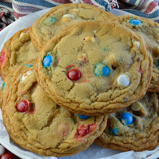Soft Chocolate Chip Cookies with White Chocolate and M&M's.