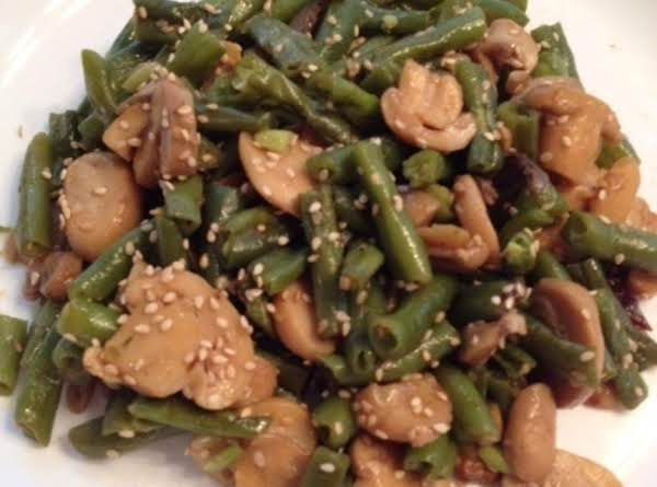 Fresh Mushrooms Green Beans And Crunchy Jicama From The Market Combine With Sesame  For A Tasty Side Dish Or Vegetarian Meal.