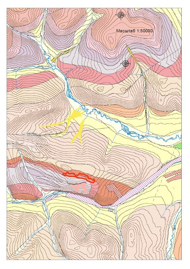 Фрагмент геологической карты Хомолхинского рудного узла