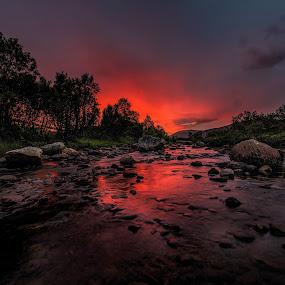 Sunset over river by Benny Høynes - Landscapes Sunsets & Sunrises ( sunset, night, landscapes, nightscape, river )