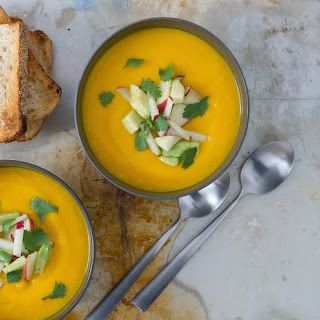 Carrot + Ginger Soup With Lime + Cilantro.