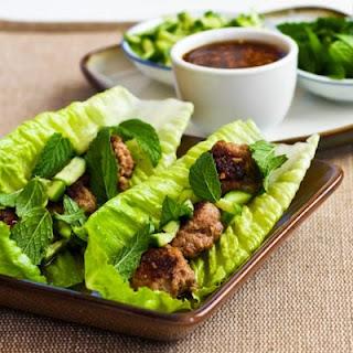 Thai-Inspired Turkey Mini-Meatball Lettuce Wraps.