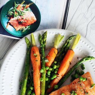 Slow Cooked Salmon with Spring Vegetables.